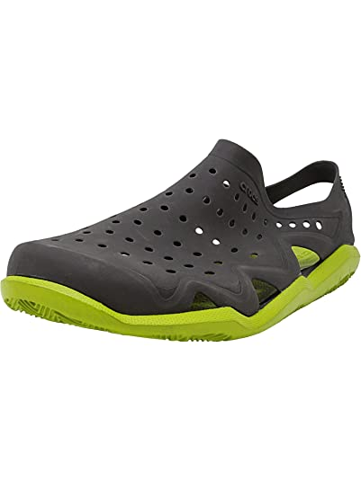 20efb8d7f922 Image Unavailable. Image not available for. Color  Crocs Men s Swiftwater  Wave Graphite Volt Green Ankle-High Rubber Sandal ...