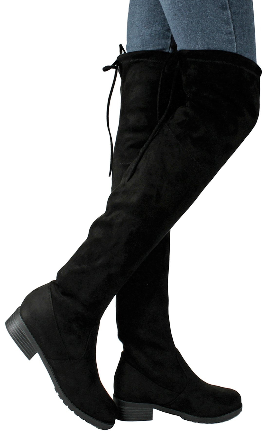 JJF Shoes Women Jalen Black Fashion Slouchy Round Toe Faux Suede Slanted Cuff Over The Knee Boots-9 by JJF Shoes