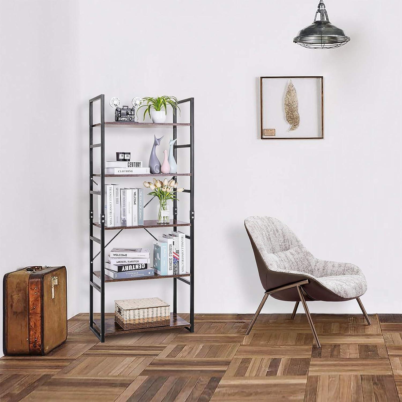 Llivekit Bookshelf Vintage/4-Tier Bookcase Wood Display/Shelf Units/Storage/Organizer/for Home Office 4 Tier