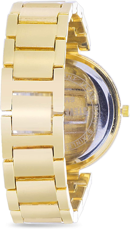 Steve Madden Ombre Rhinestone Link Bracelet Women's Watch Set Yellow/Black/Multicolor