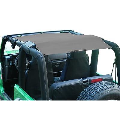 Alien Sunshade Jeep Wrangler Sunshade - Jeep TJ Sunshade (96-05) & Jeep YJ (87-95) Jeep Mesh Top (Gray): Automotive