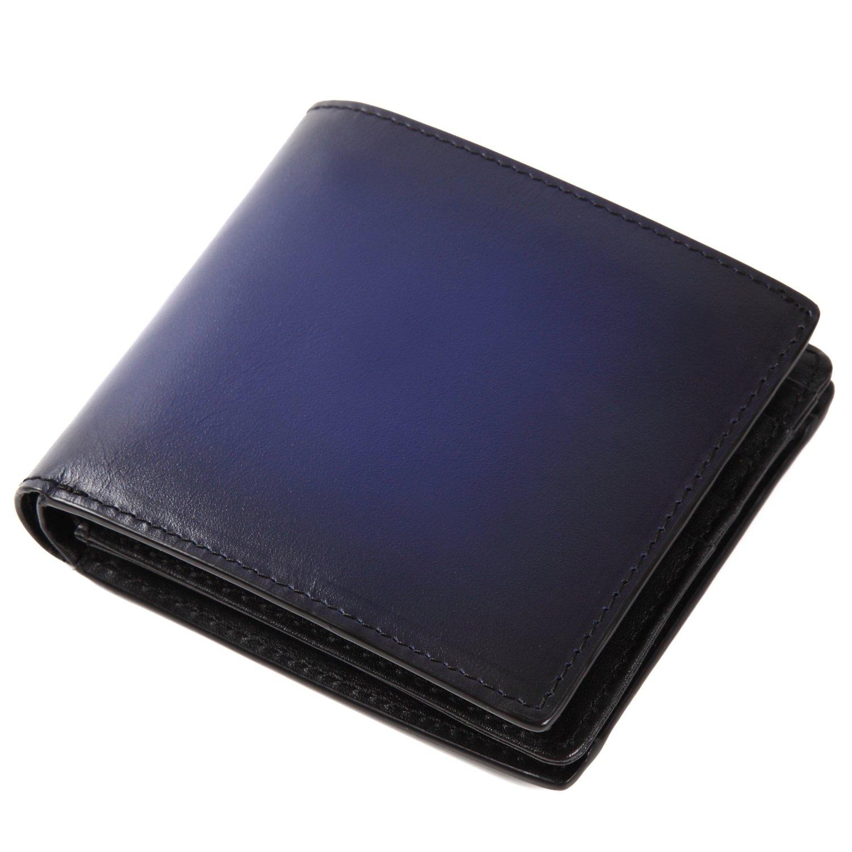 (ラファエロ) Raffaello 一流の革職人が作る スフマート製法で仕立てたメンズ二つ折財布 B077ZLFZLJ アズールブルー アズールブルー