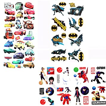 Evtech(tm) 3 Stil Disney Big Hero 6 Baymax Marvel Batman Cars PLEX