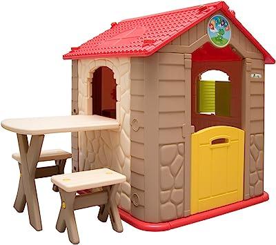 LittleTom Casa de Juegos para niños y niñas Incl 1 Mesa 2 taburetes Casita de plástico para Interiores y Exteriores Beige Marrón: Amazon.es: Juguetes y juegos