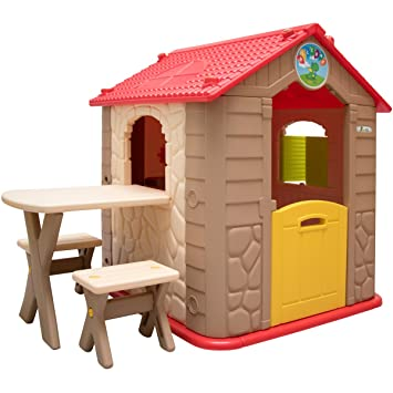 Littletom Casa De Juegos Para Ninos Y Ninas Incl 1 Mesa 2 Taburetes - Casitas-infantiles-plastico