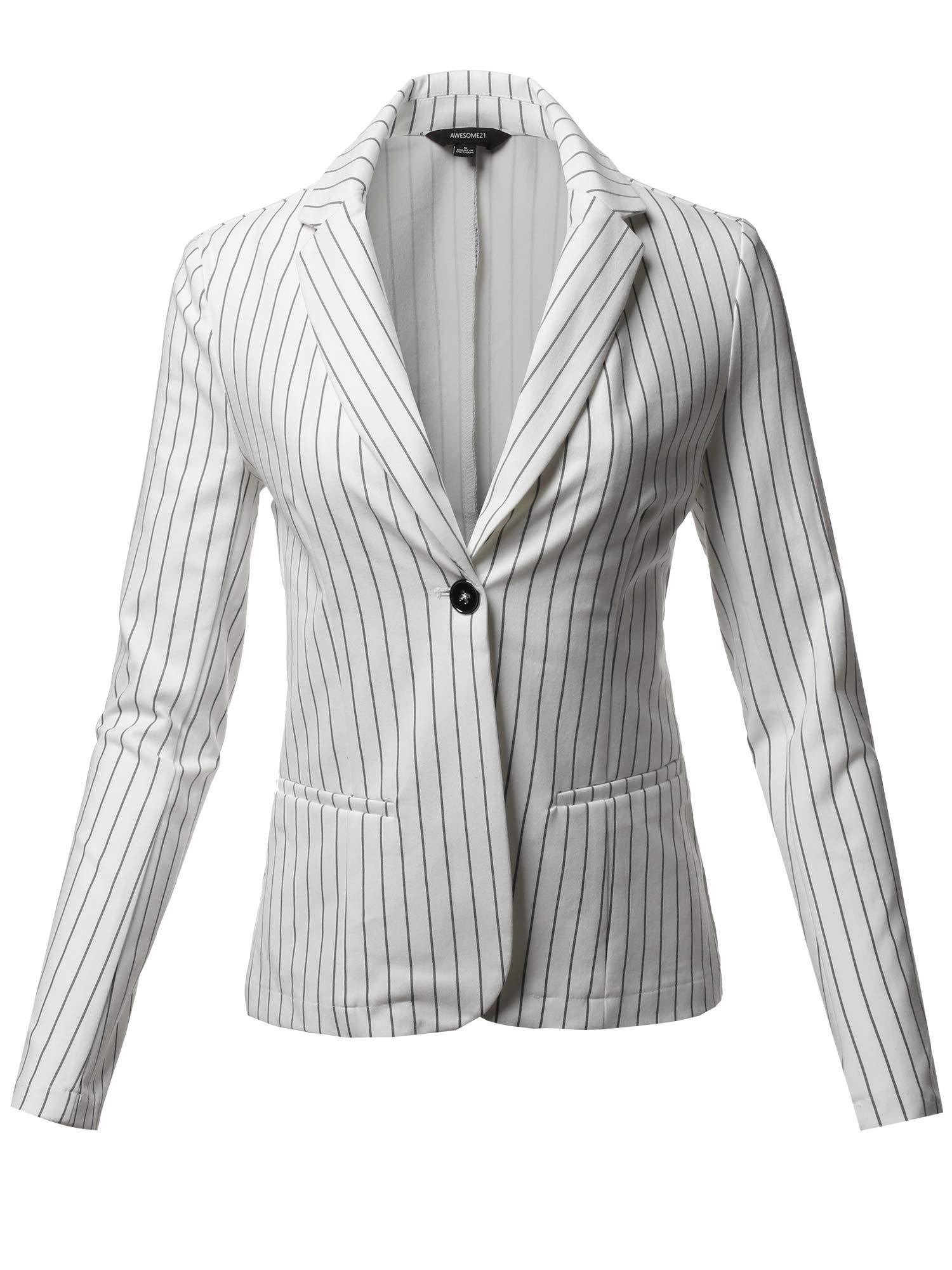 Casual Stylish Patterned Long Sleeves Blazer Jacket White Size M