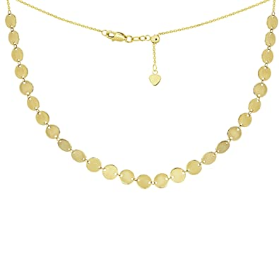 4f0874914c7877 Image Unavailable. Image not available for. Color: Choker Necklace with Disks  Chain 14k Yellow Gold - Adjustable