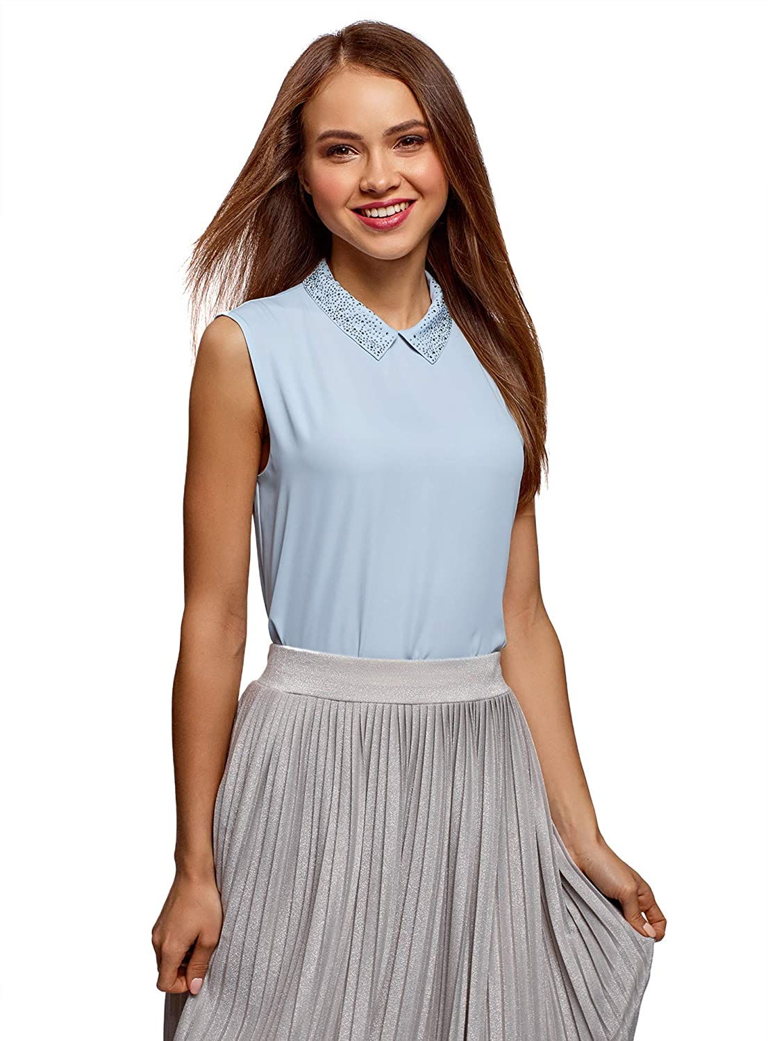 bluee (7000n) oodji Ultra Women's Top in Flowing Fabric with Collar Décor