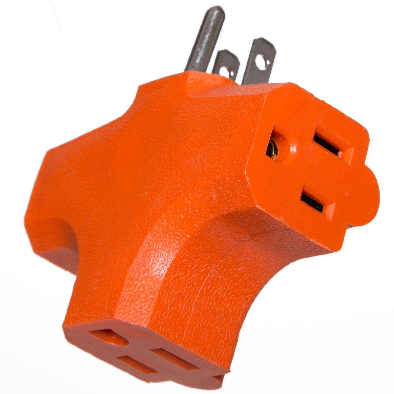Uninex PS37UOG Master Electrician, Orange, Heavy Duty Tri Tap 3 Way Plug Adapter - Quantity of 96