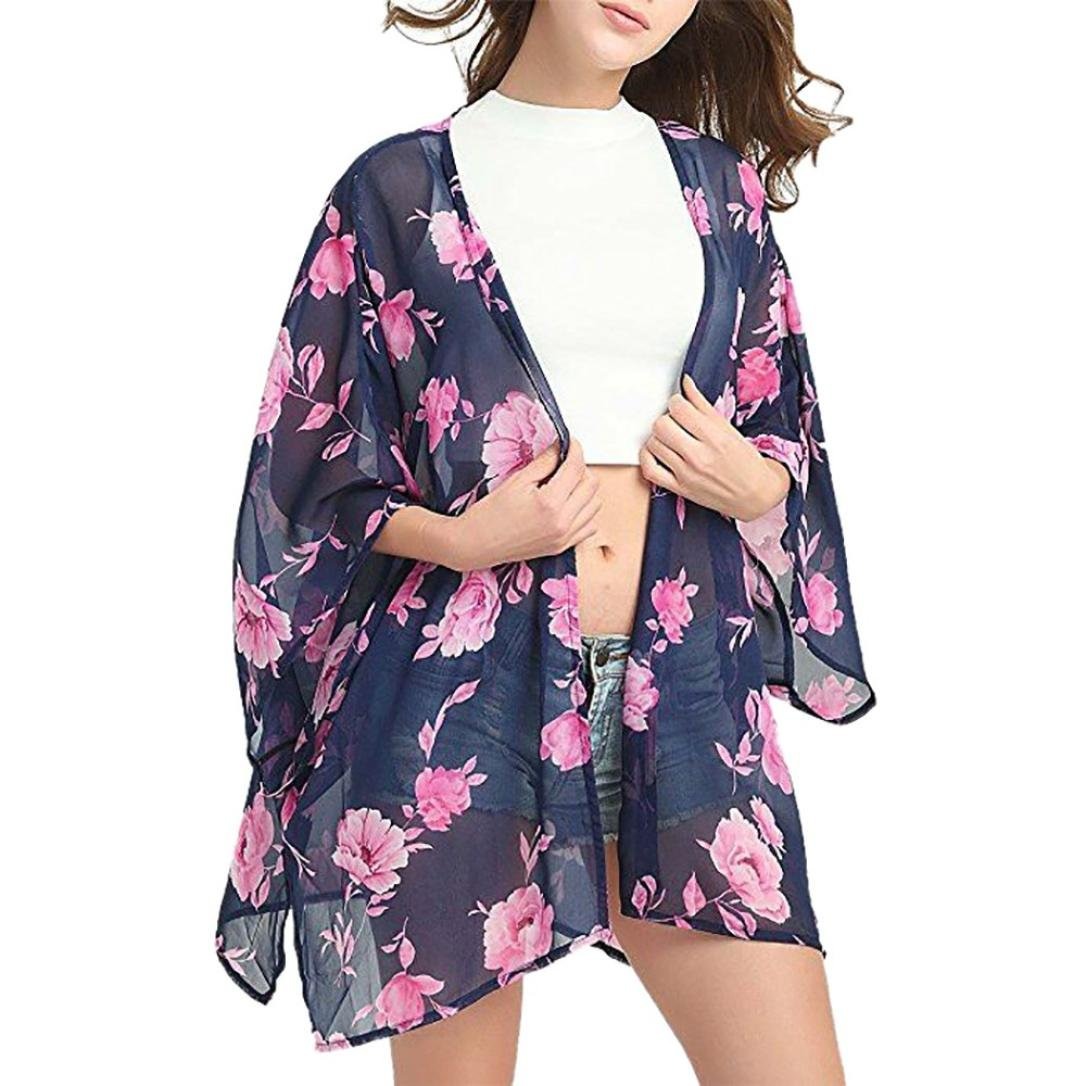 e3ed7524c9 Clearance! Women Printed Semi-Sheer Chiffon Kimono Cardigan Covers Cape  Swimwear Beach Smock Tops at Amazon Women s Clothing store