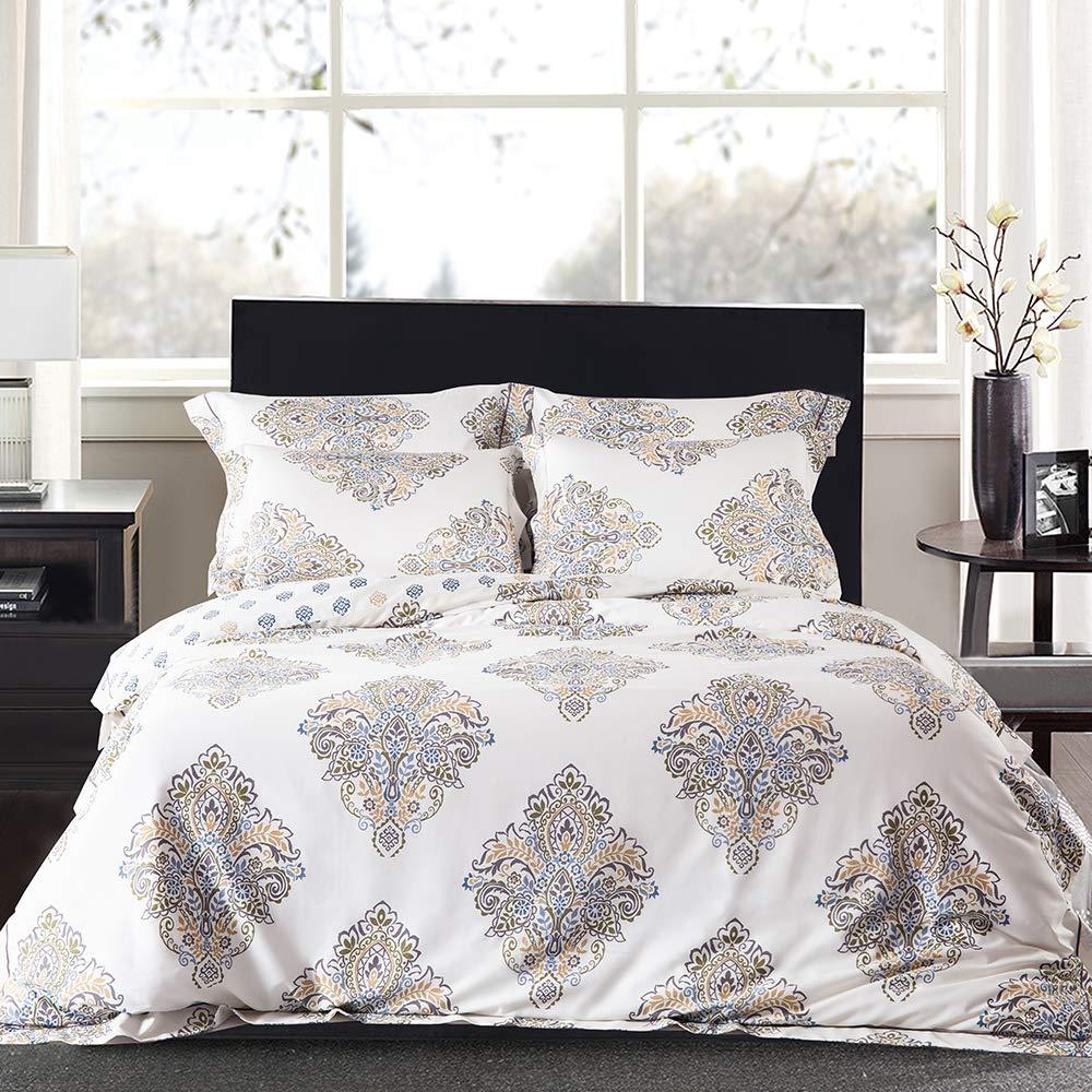 JELLYMONI Cream White 100% Egyptian Cotton Duvet Cover Set,3 Pieces Boho Damascus Pattern Floral Print Bedding Set With Double Zipper Closure,Reversible Duvet Cover Queen Size(90x90Inch)(No Comforter)