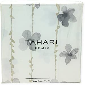 Tahari Home Beige and Grey Watercolor Vines Fabric Shower Curtain