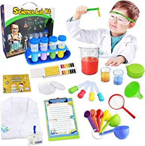 UNGLINGA Kids Science Kit Lab Coat Set First DIY Chemistry Experiment Activity Exploration STEM Toys, A Great Educational Gift Scientific Tools Pretend Play Scientist Costume for Boys Girls Age 4+