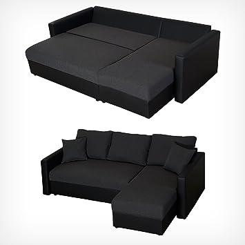 DRULINE XL Sofa Mit Schlaffunktion Ecksofa Schlafsofa Polstereck Couch  Sofabett Anthrazit
