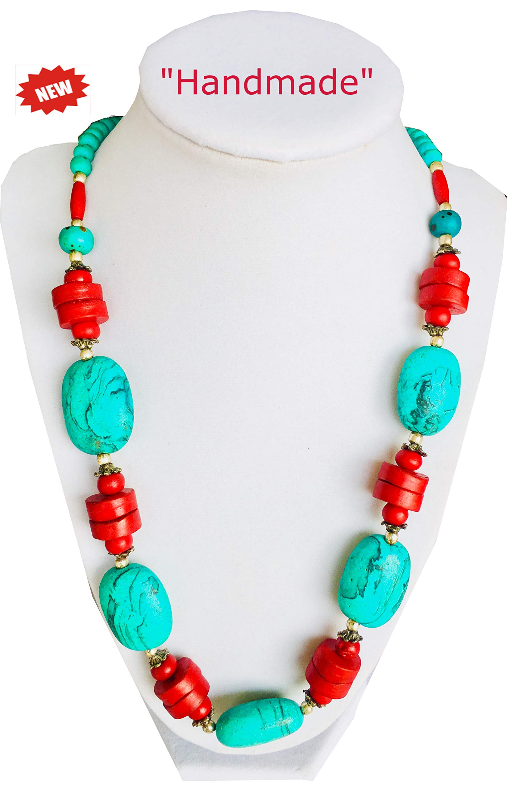 Himalayan Sherpa Handmade Multi-Colored Multi Colors Gemstone Necklace with Orange Color Big Beads Pendant and Small Beads Plus Painted Stones