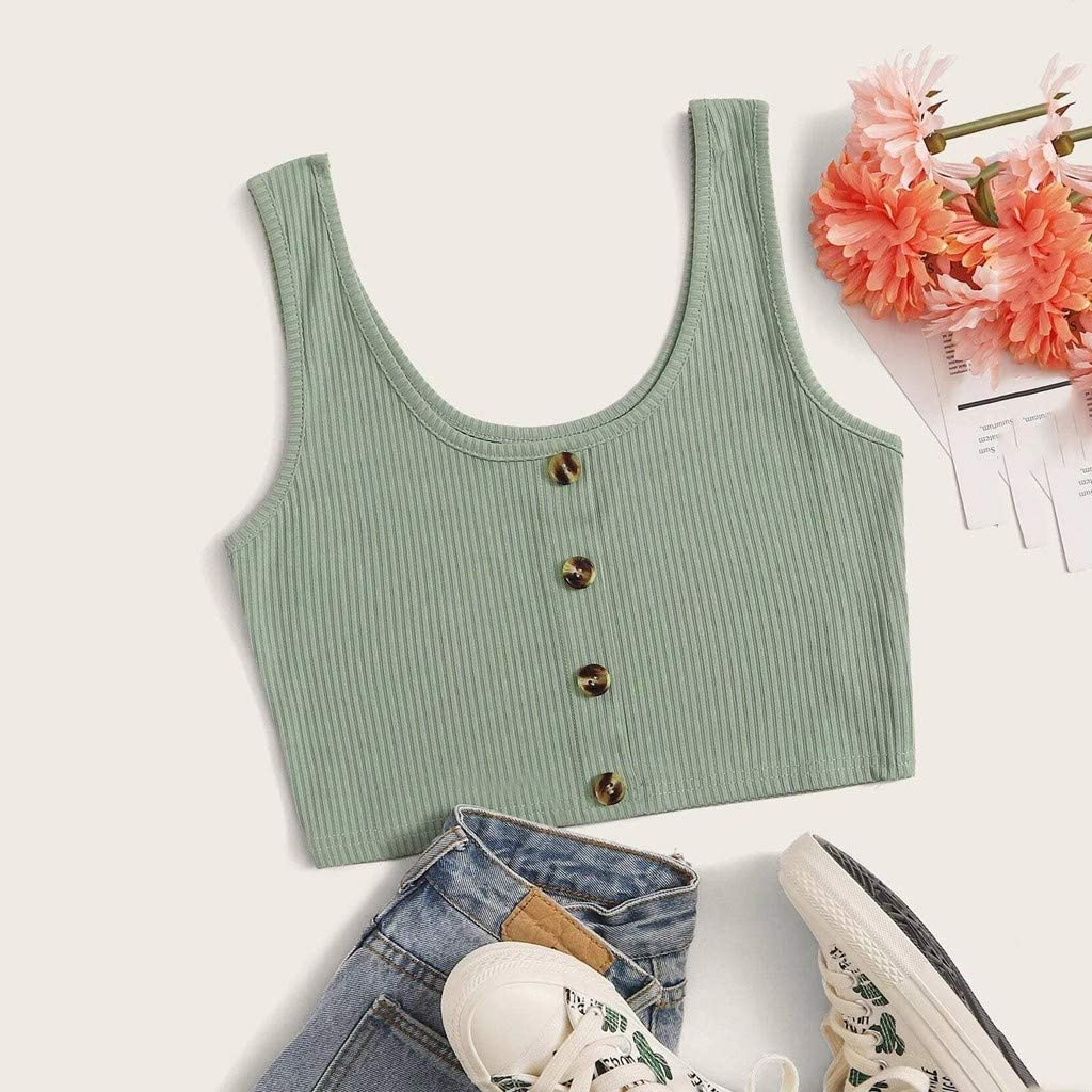 Balakie Womens Summer Tank Crop Tops Casual Sleeveless Button Detail Shirts Basic Camisole Blouses