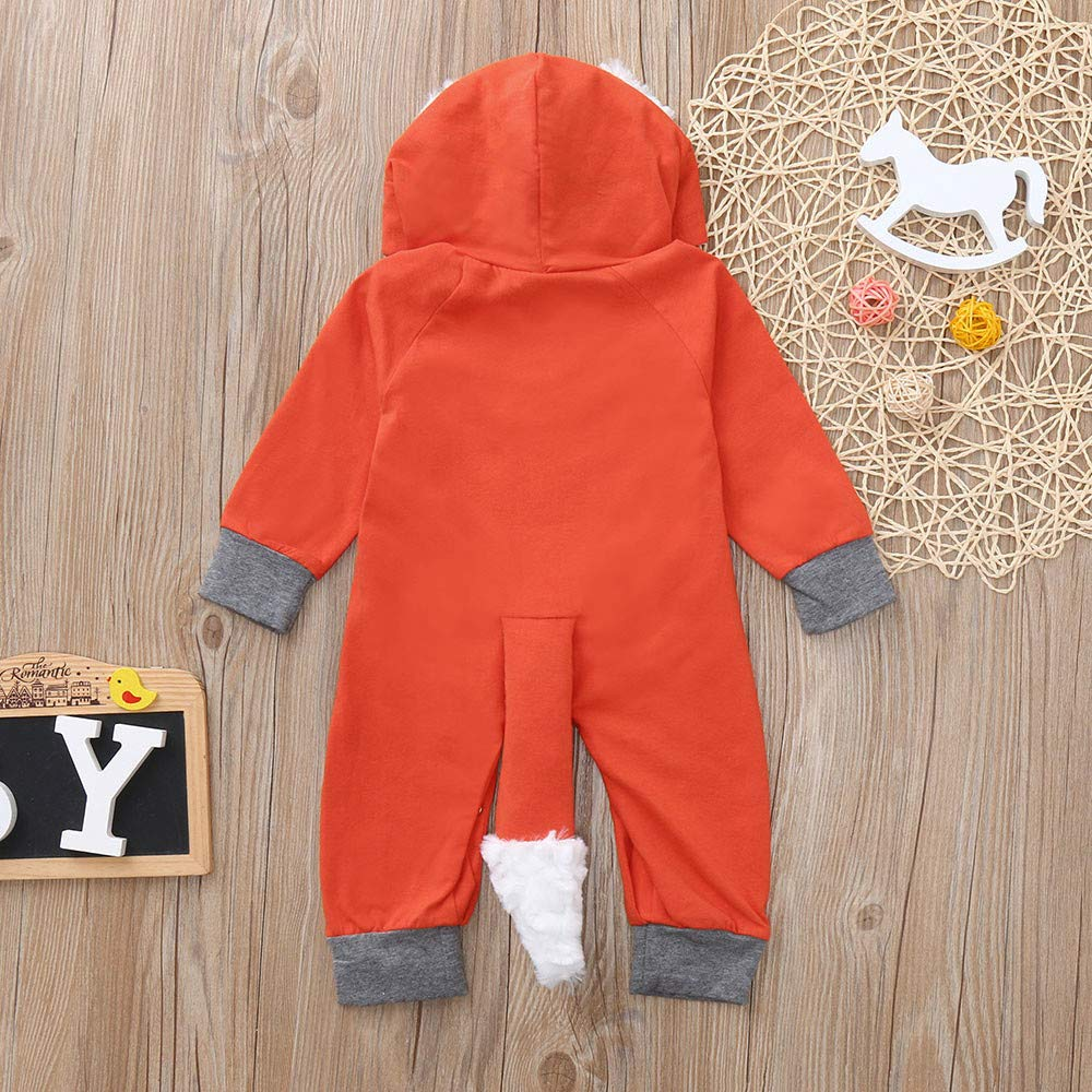 Newborn Infant Baby Girls Boys Long Sleeve 3D Cartoon Fox Hooded Romper Jumpsuit Outfits