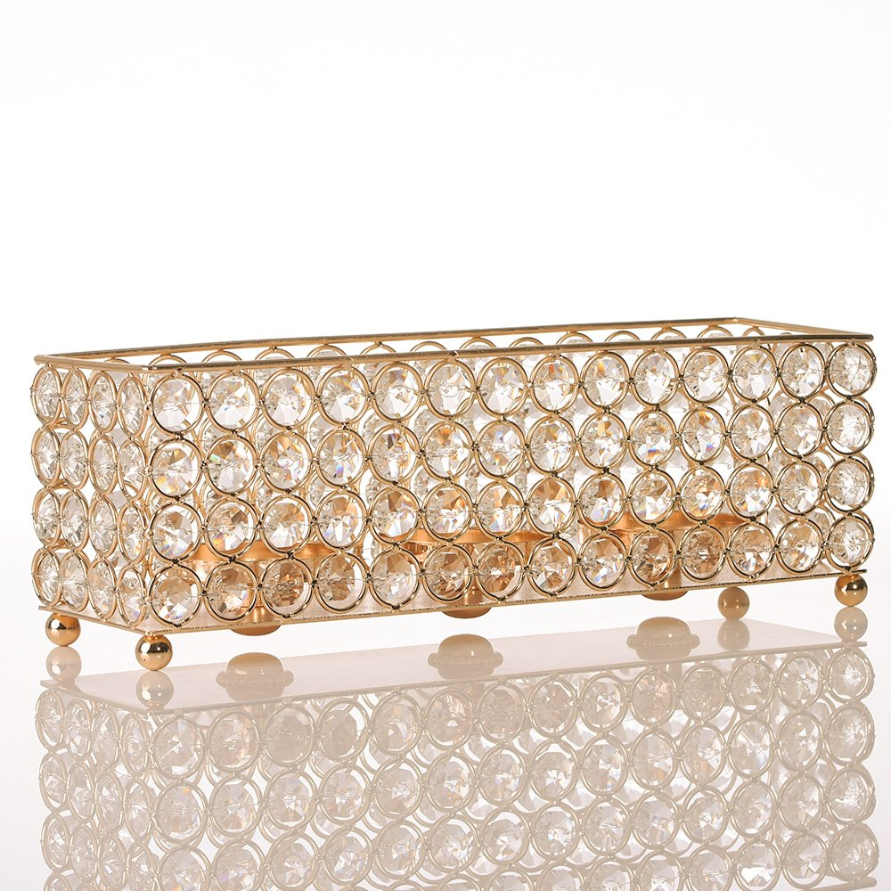 VINCIGANT Gold Crystal Tealight Candle Holders Tray for Dinning Room Coffee Table Decorative Centerpieces, Anniversary