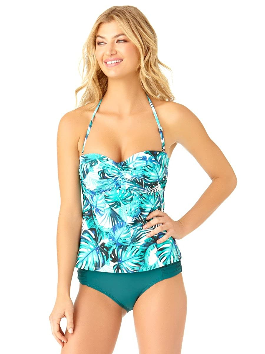 541a22de3fb9b Bright, bold, beautiful botanical leaves in tantalizing teal and blue on a  pristine white background make this Leaf Twist Bandeau Tankini Swim Top  simply ...