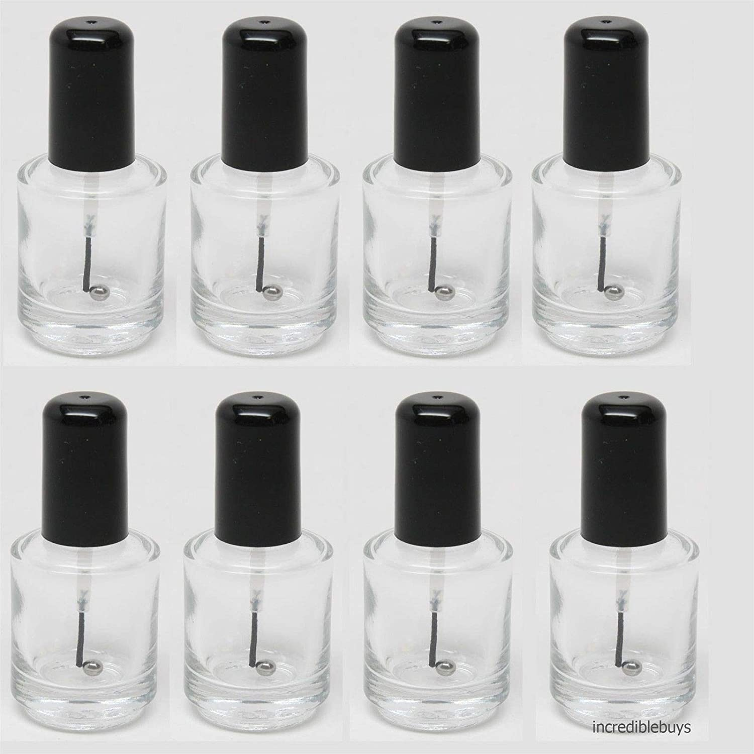 Empty Polish Bottle Clear Brush Mixing ball Black Cap14ml 0.5 Oz – 8 Piece