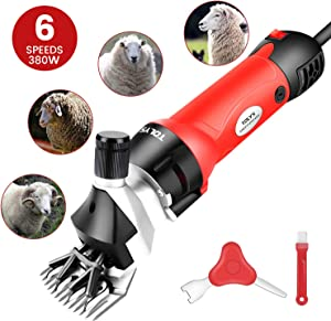 TOLYS 380W Electric Sheep Shears, Portable Sheep Clippers with 6 Speed,Electric Goat Shears for Sheep Goat Llama Horse Alpacas Thick Coat and Heavy Duty Animals Hair Fur Grooming