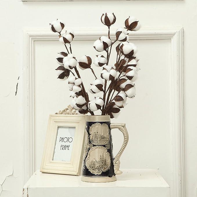 1 x Cotton branch from 11 Flowers Gossypium dekozweige Cotton Branch Dry Flower