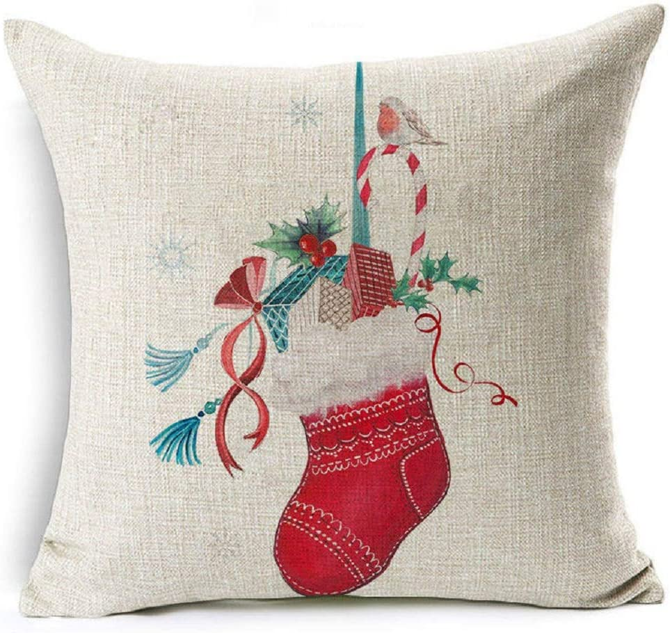 "18/"" Christmas Style Cotton Linen Pillow Case Throw Cushion Cover Home Décor Gift"