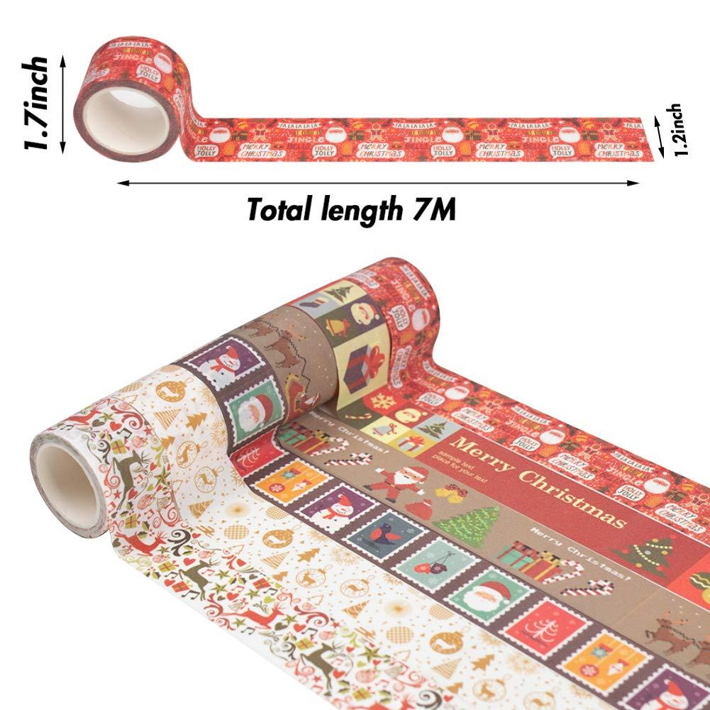 Christmas Tape 12 Rolls DIY Sticker Decorative Masking Tape Easy Tear Packaging Tape