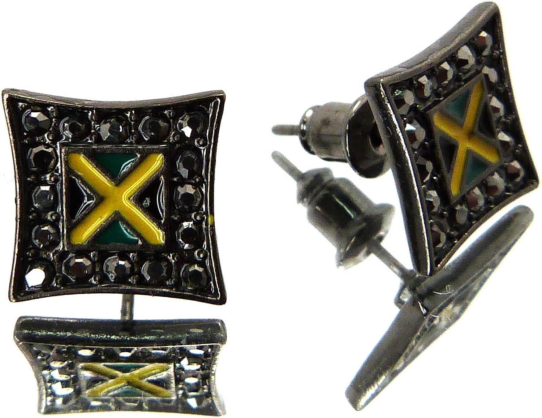 Minuet Hematite Silver Tone Stud Pierced Earrings