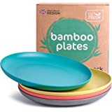 GET FRESH Bamboo Kids Plates Set – 4-pack Reusable Bamboo Dinner Plates for Kids and Toddlers – Colorful Bamboo Fiber Childre