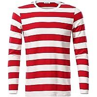 KIRA Mens Basic Striped Long Sleeve Casual Cotton T-Shirt
