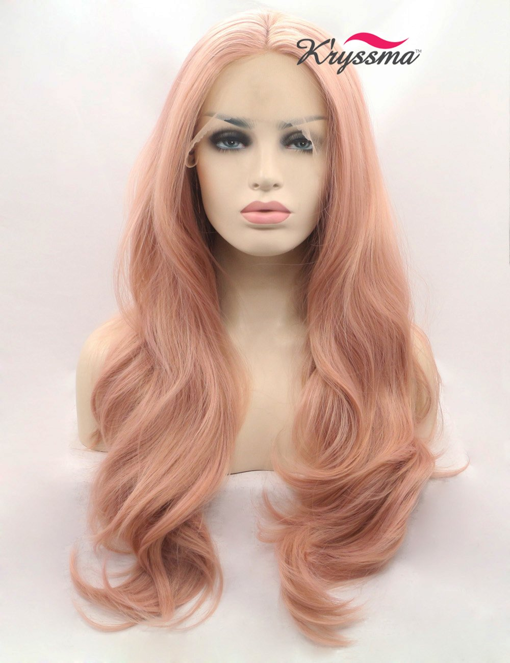 Amazon.com   K ryssma Fashion Orange Pink Lace Wig Mixed Color Glueless  Long Natural Wavy Middle Part Synthetic Lace Front Wigs For Women Half Hand  Tied ... 7bc9eb5bd