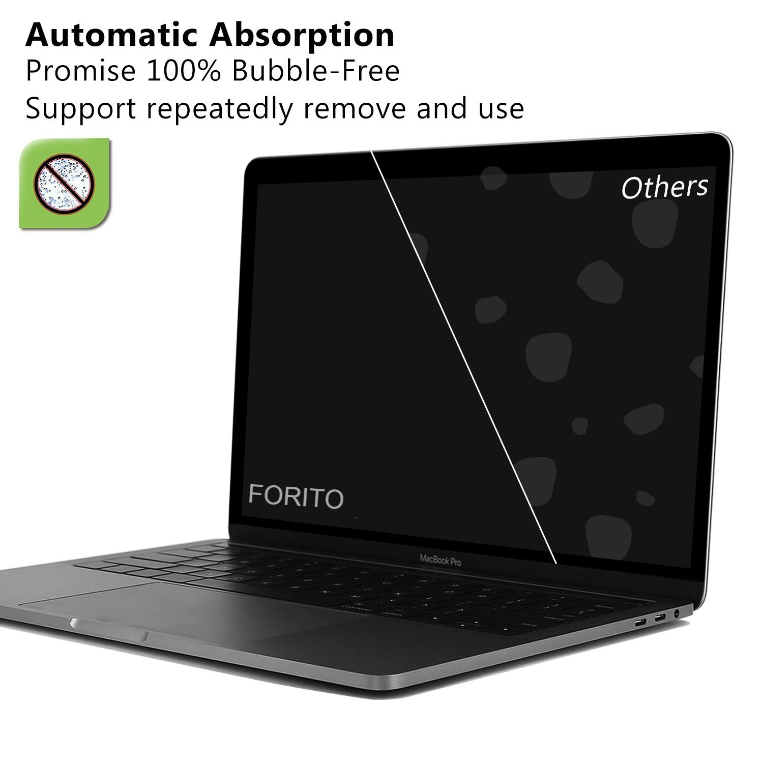Bubble Free Removable Screen Protector for MacBook Pro 13 Inch 2019 2018 2017 2016 Model A1706 A1708 A1989 with or without Touch