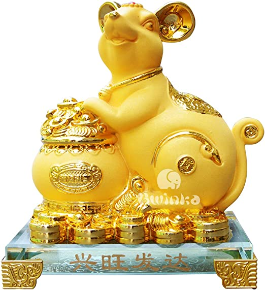 NEW mini RED Year of Rat Feng Shui Resin Collectible RAT Figurine Sculpture
