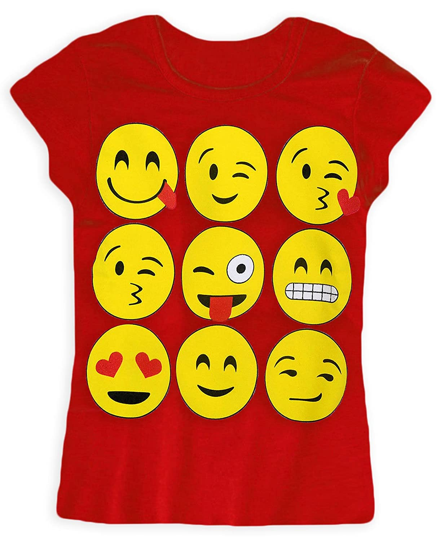 Girls Emoji Short Sleeved T Shirt New Kids Smiley Print Tops Novelty