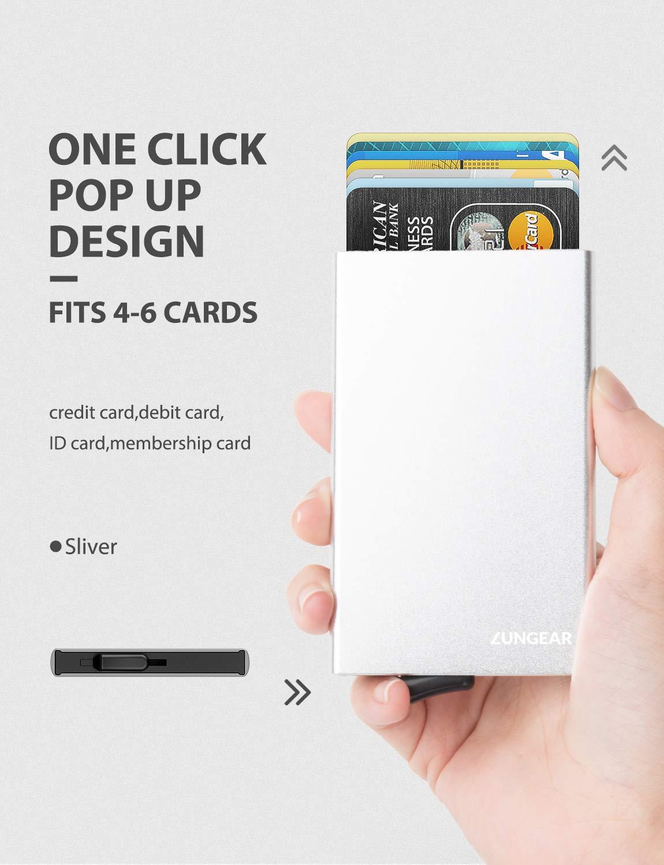 LUNGEAR Tarjetero metalico Tarjetas de credito el Portador de la Tarjeta de cr/édito emergente RFID Que bloquea la Funda de la Tarjeta de Billetera de Aluminio para Hombres Tiene 4-6 Tarjetas