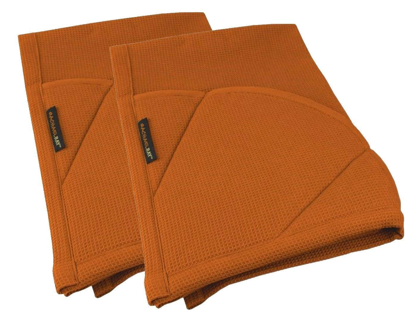 Rachael Ray Multifunctional 2-in-1 Moppine, Ultra Absorbent Kitchen Towel & Heat Resistant Pot Holder Burnt Orange (Pack of 2)
