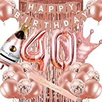 40th Birthday Decorations for Women, Rose Gold 40 Birthday Party Decoration for Her, 40th Happy Birthday Banner Kits…