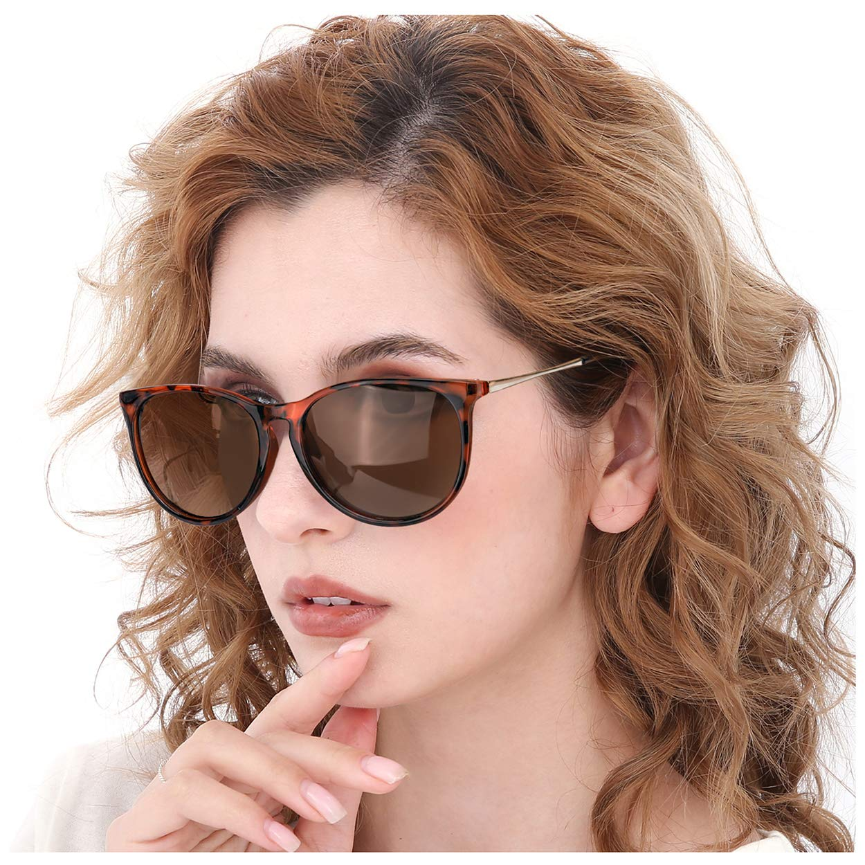 Leopard Brown Frame Brown Gradient Retro Round Lens TJUTR Women's Retro Round Polarized Sunglasses, Vintage Designer Style Eyewear with UV Predection for Driving Shopping