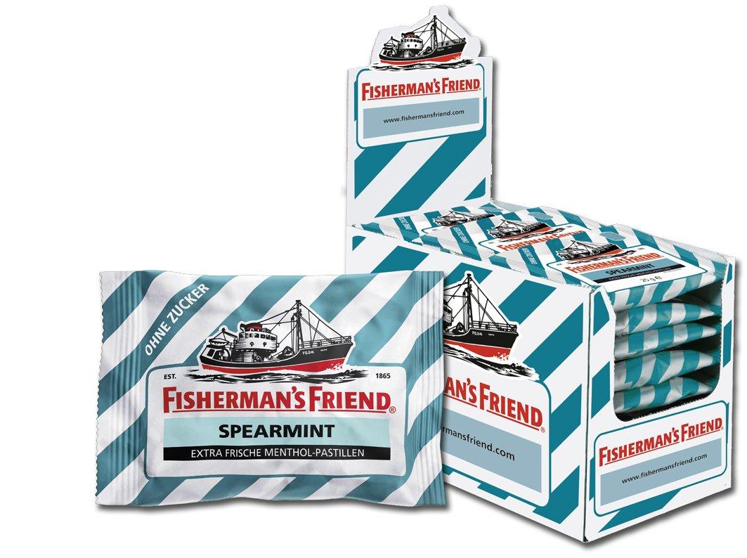Fisherman's Friend Spearmint Sugar Free, Pack of 24x 25g Bag)