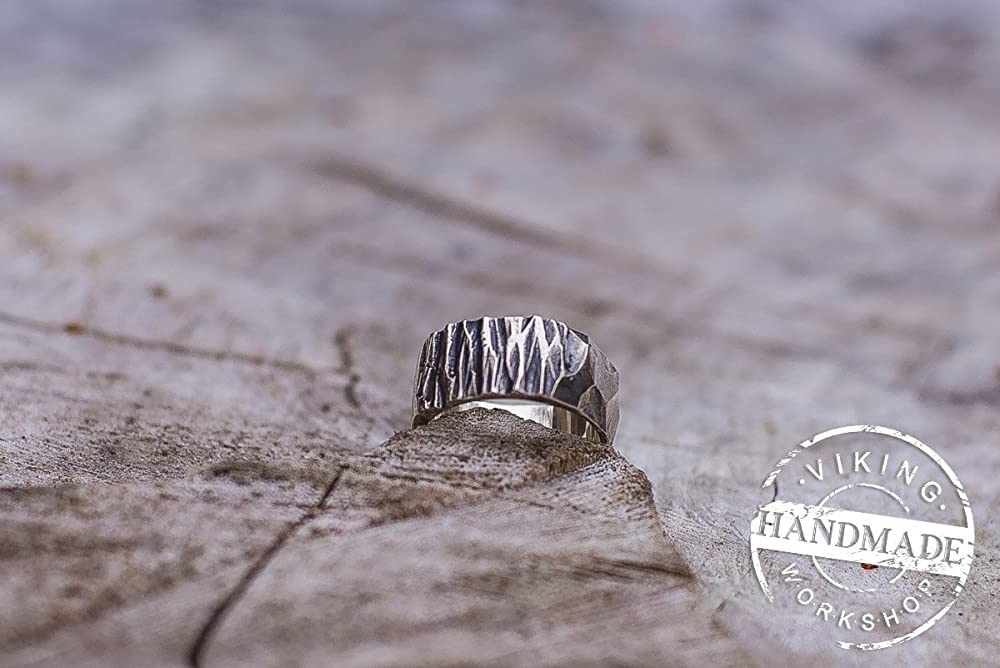 Handcarved Ring Stone Texture Ring Wood Texture Ring 925 Silver Stone Shape Ring Handmade Sterling Silver Unique Ring
