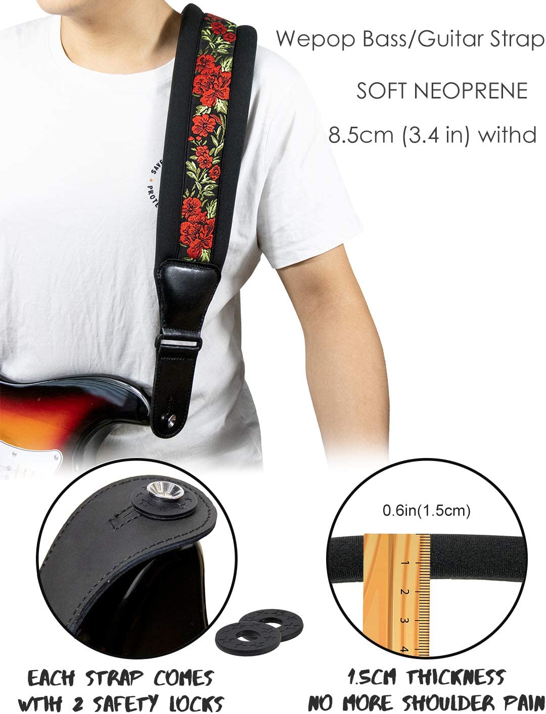 101 Guitar Strap Elastic Soft Comfortable Neoprene Leather 3.4in Bass Acoustic Electric Guitar
