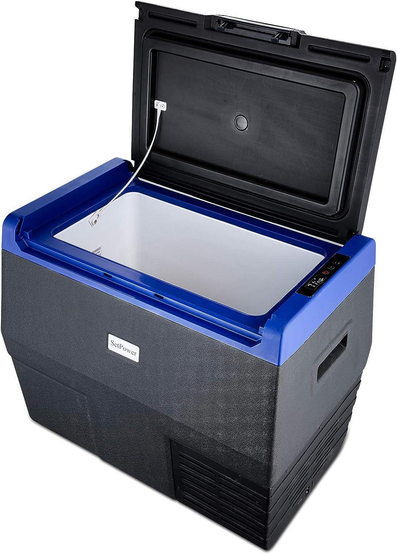 SetPower 37 Quarts Beverage Refrigerator, 50 Can 12 Volt Refrigerator with Compressor, DC 12/24V, Beverage Cooler for Soda and Beer, Suitable for RV, Camping, Road Trip