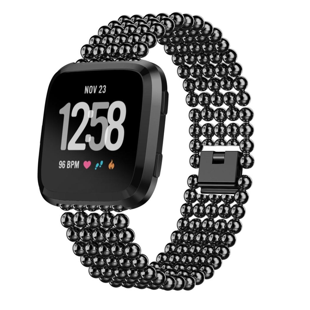 For Fitbit Versaビーズ付き帯、sukeqファッションハンドメイド伸縮性ストレッチ人工パールクリスタルビーズブレスレット交換用リストバンドストラップAccessory for Fitbit Versa B07BL29JSR ブラック