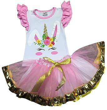 1e59524cc63 Girls 2 Pieces Skirt Set Unicorn Bunny Top Easter Tutu Skirt Clothing Set  Pink 4 M