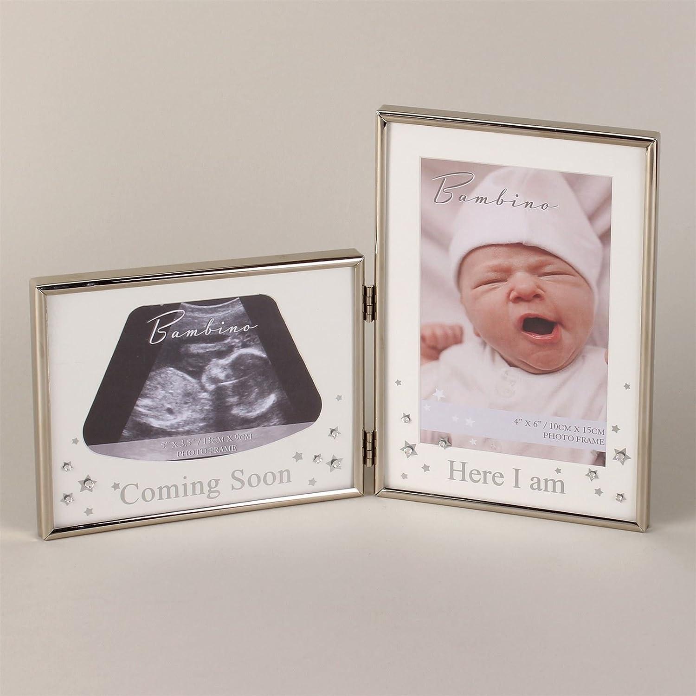Bambino versilberter Doppel-Bilderrahmen für Ultraschallbild und ...