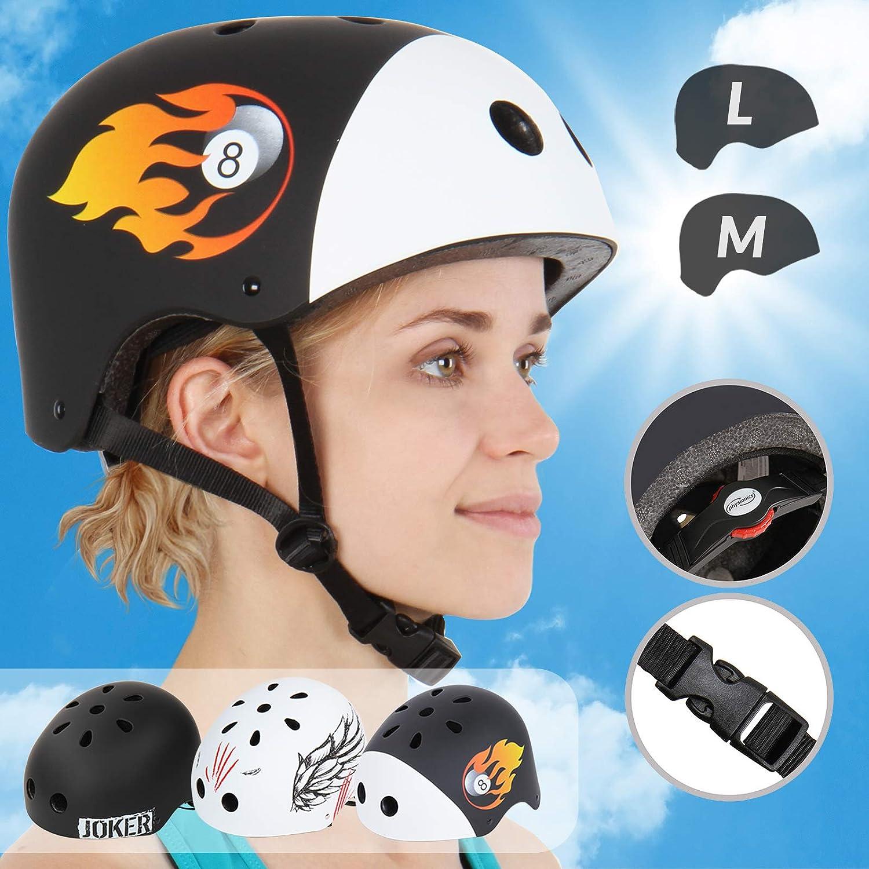 Casco de ciclismo para bicicleta o skate con rueda regulable y barbilla Infantastic modelo Billa tama/ño M
