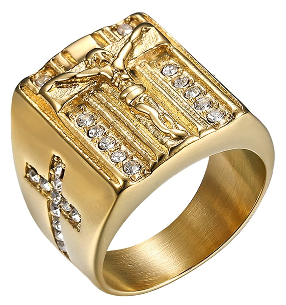 Cross Symmetrical Inlaid Zircon Gold Jesus Big Ring JJWW