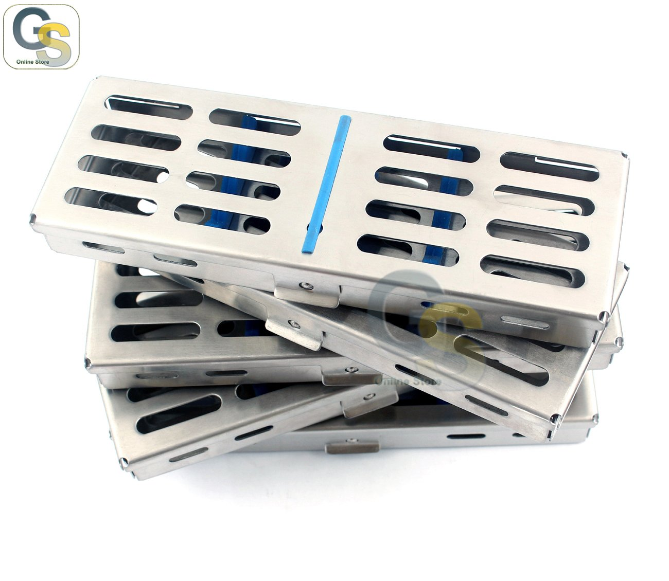 G.S SET OF-5 DENTAL STERILIZATION CASSETTE,AUTOCLAVE TRAY,RACK,5-INSTRUMENTS 7''X2.5'' BEST QUALITY by G.S SURGICAL (Image #1)