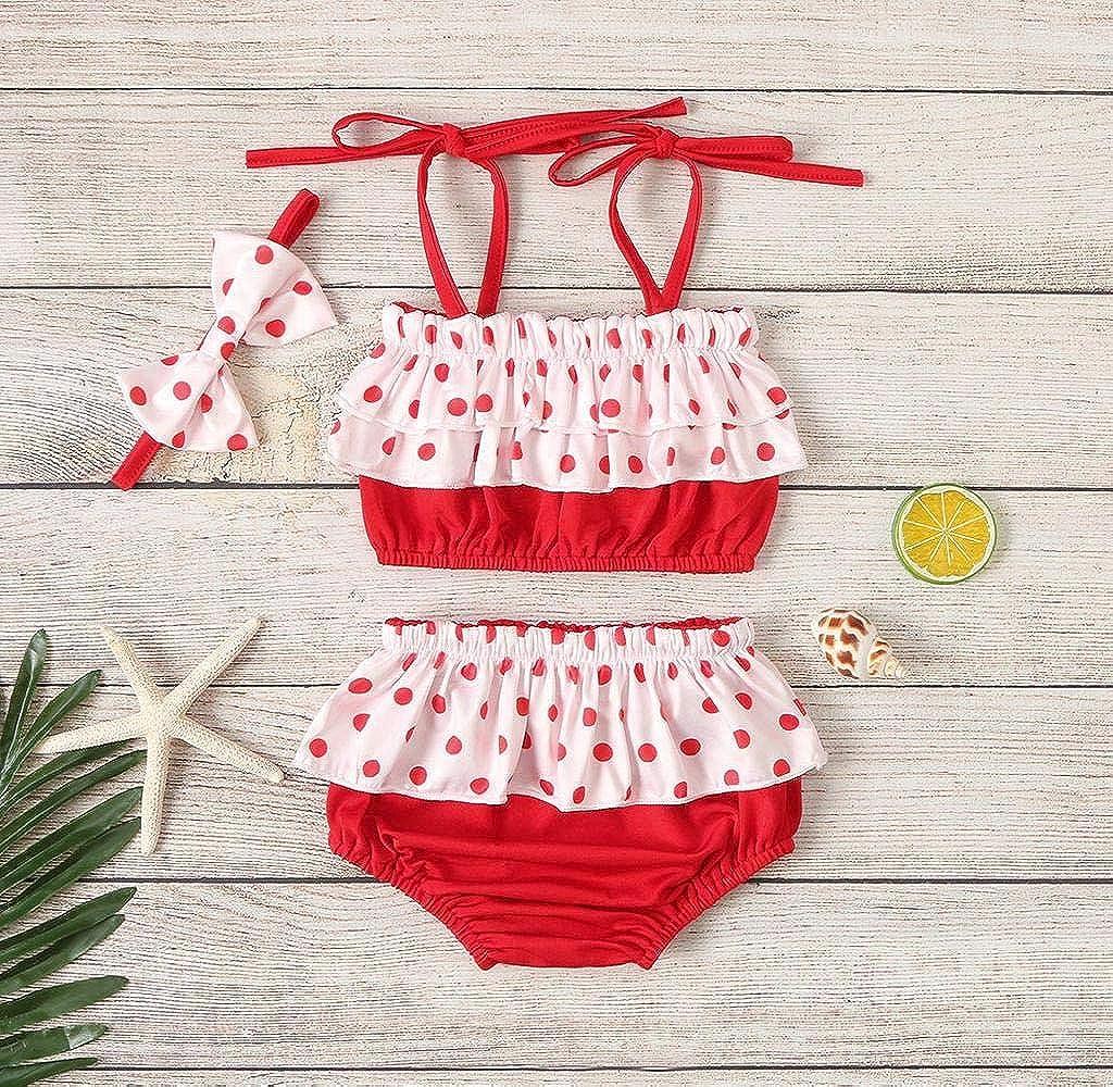 Fascia per Capelli Bimba Beb/è Femminuccia Jimmackey Neonata Costume Costumi Bambina Bagnarsi Spiaggia Costumi da Bagno Neonata Swimsuit Bikini Stampa DOT di Pesce Bikini